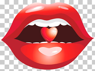 Lippe, rote Lippen mit Herz, Lippenillustration der Person PNG Clipart
