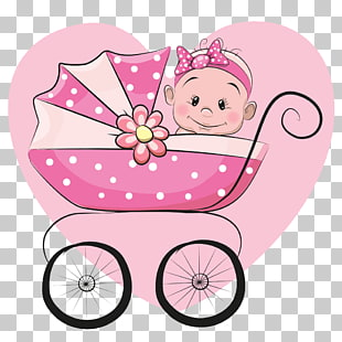 Cartoon-Säuglingsillustration, Kinderwagen, animiertes Baby auf Kinderwagen-Symbol PNG Clipart