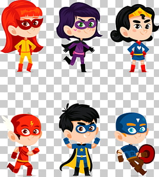 sechs kinder super helden illustrationen, clark kent superheld cartoon, handgemalte cartoon superheld PNG Clipart