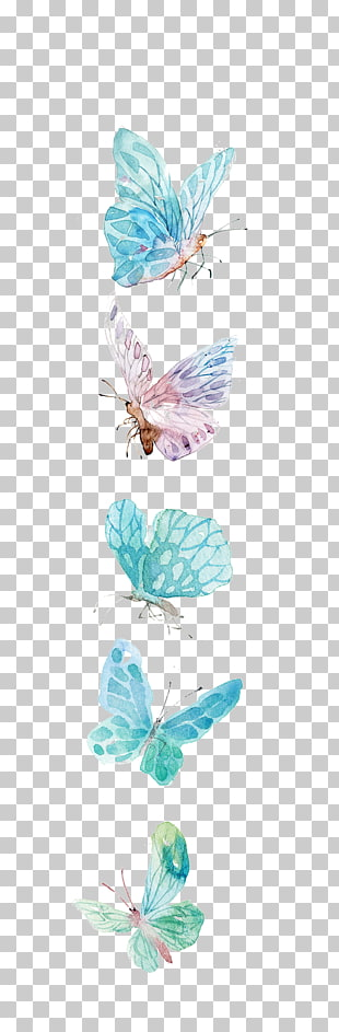 Schmetterlingsikone, Aquarellschmetterlings-, Blaue und Purpurschmetterlingsillustration PNG Clipart