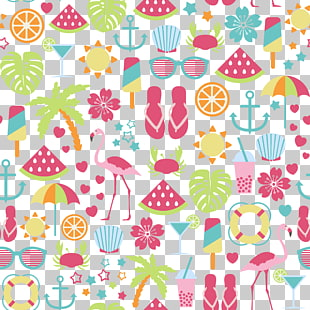 Illustration mit zwei Flamingos, Sommer PNG Clipart