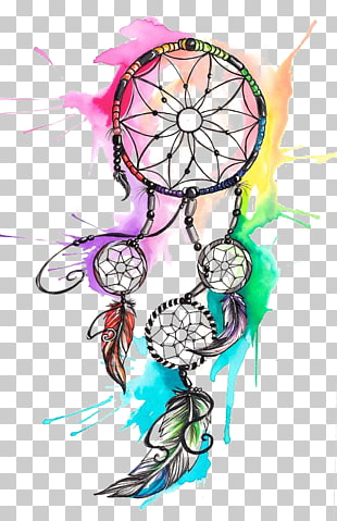 Traumfänger Tattoo, Aquarell Traumfänger, mehrfarbiger Traumfänger-Anstrich PNG Clipart