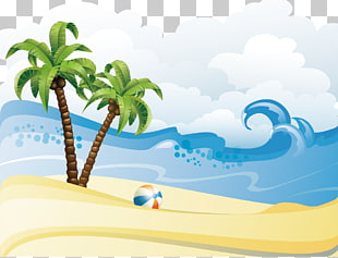 Palmen am Strand, Sommer Strand, Sommer Strand Poster Hintergrundmaterial PNG Clipart