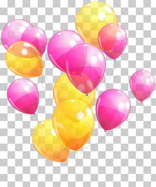 Rosa gelbe Babyparty der Ballonparty, rosa und gelbe Ballone Bündel, rosa und gelbe Ballonillustration PNG Clipart